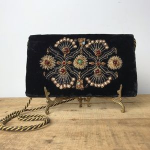 True vintage jewel stone velvet shoulder bag purse